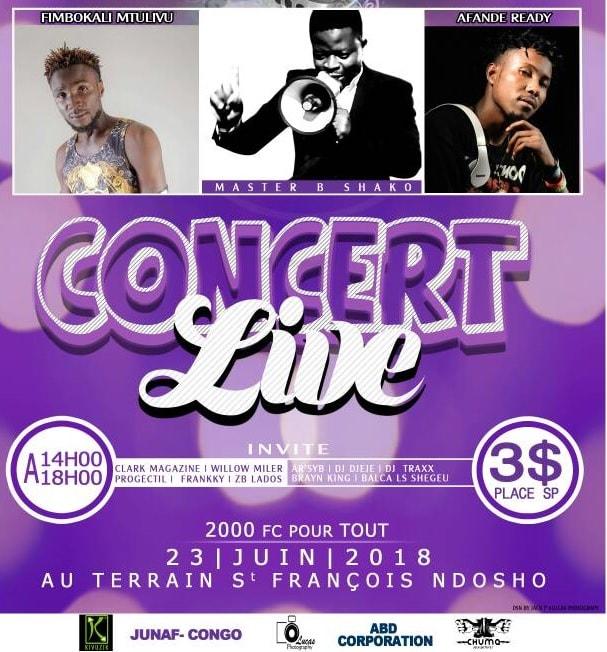 Les artistes Shako, Fimbokali et Afande Ready livrent un  concert ce samedi à Goma