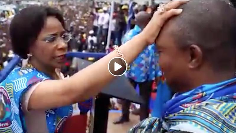 Quand la première dame Olive Lembe prie pour le candidat du FCC , VIDEO