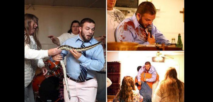 Ce pasteur qui prêche avec un serpent échappe à la mort après avoir été mordu ( photos)